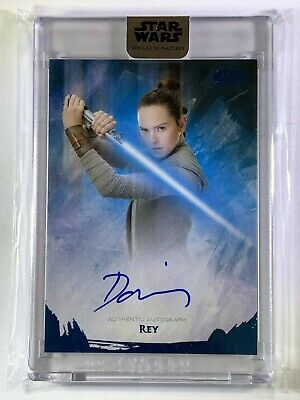 "2018 Star Wars Stellar ""Daisy Ridley as Rey"" Blue Parallel Autograph Card 18/25"