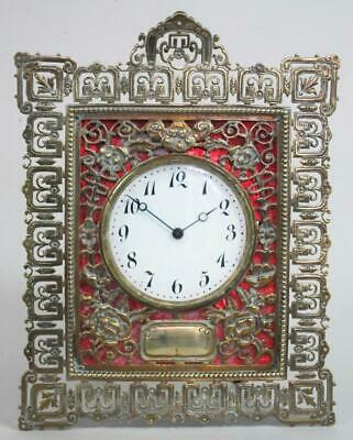 BEAUTIFUL ORNATE ANTIQUE BRASS MANTLE CLOCK vintage timepiece