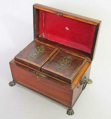 STUNNING GEORGIAN ANTIQUE INLAID TEA CADDY 1780 Lift Out TEA BOXES Lion Paw Feet