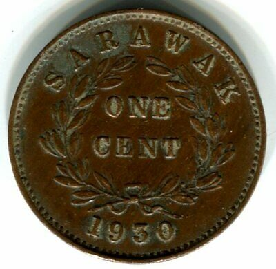 Sarawak 1930 One Cent Coin - Very Fine+ Condition