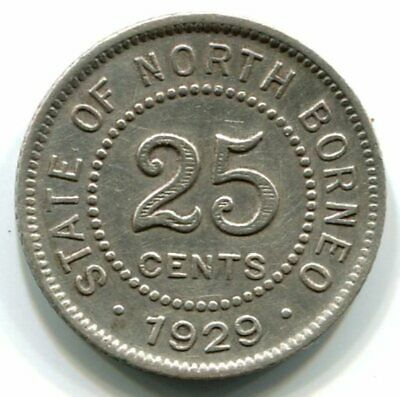 North Borneo 1929 Twenty Five 25 Cents Silver Coin - About Very Fine Condition
