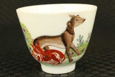 Chinese Old jingdezhen porcelain hand painting dog statue tea cup bowl art gift