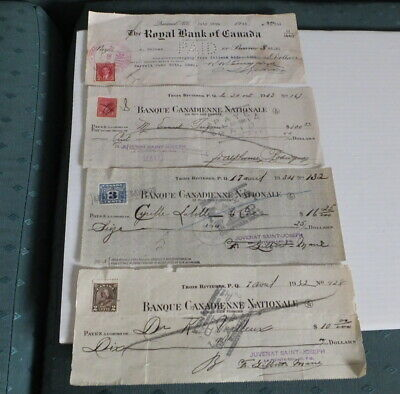 Four Early Canadian Bank Cheques With Stamps.