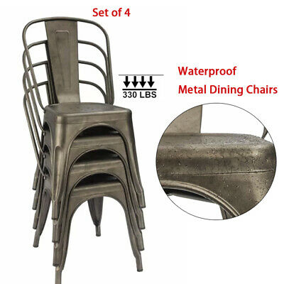 Set of 4 Metal Dining Chairs Set Stackable Patio Garden Outdoor Side Chairs Gun