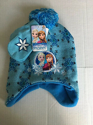 NWT Disney Frozen Knit Hat and Mittens Beanie Blue Gray Girl Toddler OS