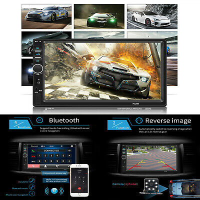 """7"""" Touch Screen 1080P Double 2-Din Car Stereo Radio FM MP3 MP5 Player Bluetooth"""