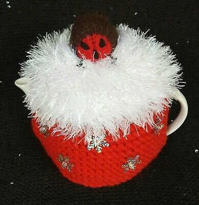 Knitted Tea Cosy Christmas Robin + Snowflakes Small Pot Size 2 Cup