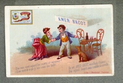 Chromo AMER BACOT alcool TOULOUSE Levrier Berdoulat 1875' victorian trade card