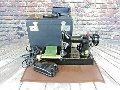Vintage Singer Featherweight 221K Black Portable Electric Sewing Machine Used