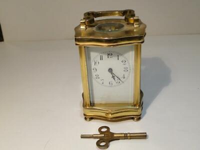 Antique France Brass Carriage Clock W/ Key Running