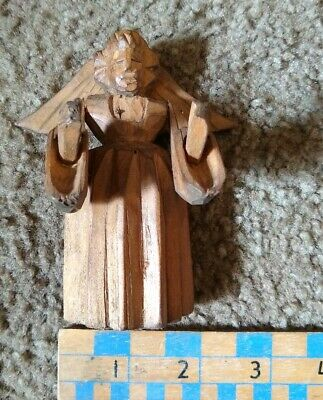 """Primitive Vintage Unusual Hand Carved Wooden Angel 4"""" Tall Movable Arms and Wing"""