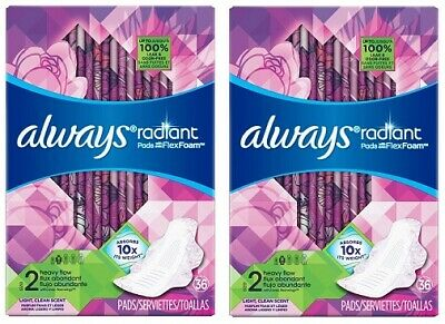 Always Radiant Size 2 Heavy Flow Pads Light, Clean Scent 2 Pack