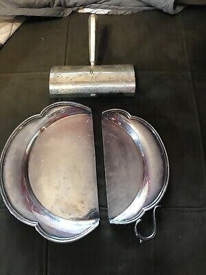Vintage Table Crumb Sweeper Etched Silver Plate & Catcher