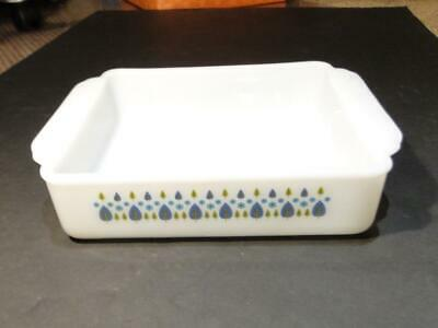 Pyrex Brownie Baker Green & Blue Leaves With Blue Flowers Pattern