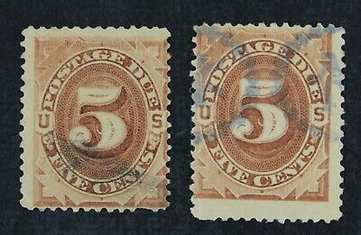 CKStamps: US Postage Due Stamps Collection Scott#J4 5c Used 1 Crease