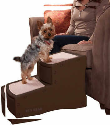Pet Stairs 2 Step Dog Cat Ladder Portable Indoor Ramp Chocolate Wider 150 Pounds