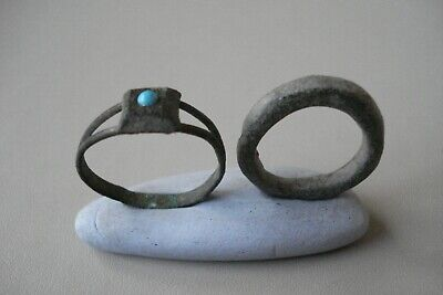 Two Genuine Ancient Uncleaned Roman Rings--Detector Finds