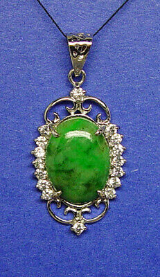 Silver.925 green jadeite natural jade pendant,large stone 12 x16 mm strong color