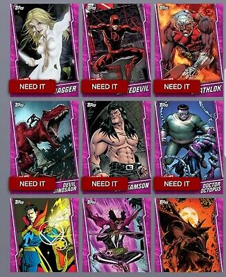 Topps Marvel Collect - Prize Wheel Pink T6 Base - 3 Random Digital Base Variants