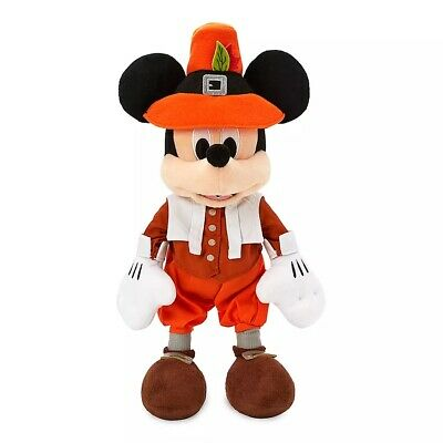 "Disney Parks Authentic Thanksgiving Holiday Mickey Mouse Pilgrim Plush 12"" Nwt"
