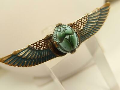Victorian FAIENCE Winged SCARAB PIN Enamel EGYPTIAN Revival Antique BROOCH