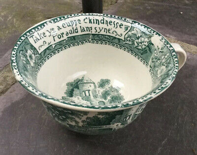 Antique Vintage R & M Roland Marcellus Green Transferware Huge Cup of Kindness