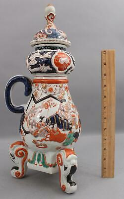 Antique 19thC Japanese Imari Porcelain Coffee Pot, Gods of Fortune