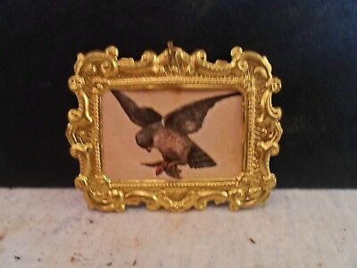 brass picture frame, Print of bird , 1 X 1.5 inches, # 1241