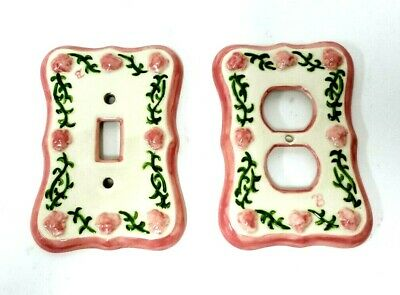 Vtg Ceramic Porcelain Shabby Chic Floral Light Switch Face Cover Plate Signed