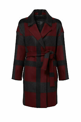 Mother of Pearl Red Plaid Women's Size Small S Belted Coat Wool $1095- #409