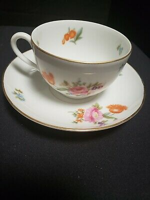 Vtg KPM Germany Tea Cup and  Saucer Floral Gold Gilted Crown Marked ( Set  #1)