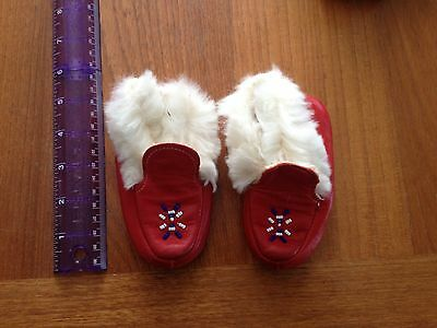 Vintage Red Leather Beaded Moccasins Child's Size 5