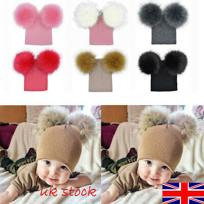 UK Unisex Kids Children Knitted Beanie Hat Hats Cap Winter Worm Girls Boy Bubble