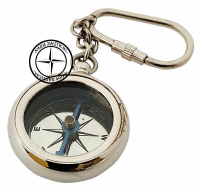 Nautical Brass Compass Keychain Vintage Keychain Key Ring Chrome Finish