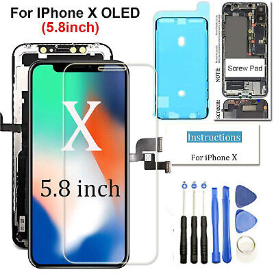 For iPhone X OLED LCD Display Touch Screen Digitizer Assembly Replacement Black