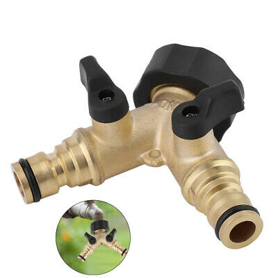 Solid Brass Garden Hose Pipe Double Tap Adaptor Twin Hosepipe Connector Splitter