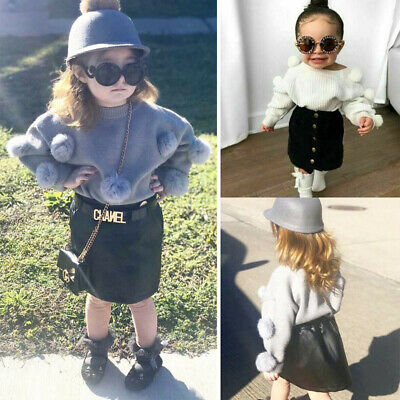 2PCS Autumn Baby Girl Clothes Long-sleeved Knit Sweater Tops + Half skirt Outfit