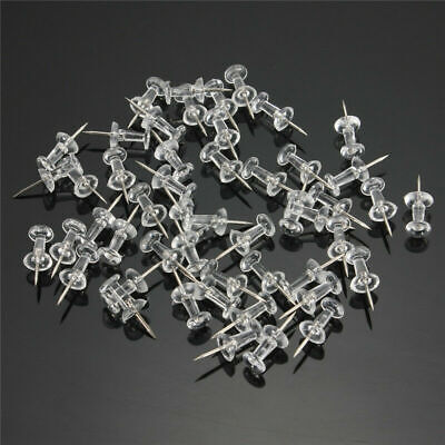 100x Push Pins Clear Assorted Drawing Pins Notice Cork Board Nail Home Office AU