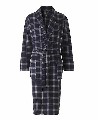 Navy Grey Large Check Super Soft Dressing Gown