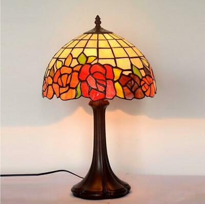 """12"""" Red Rose Style Leadlight Stained Glass Tiffany Bedside Lamp"""