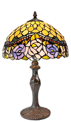"""12"""" Jeweled Rose Style Leadlight Stained Glass Tiffany Bedside Lamp"""