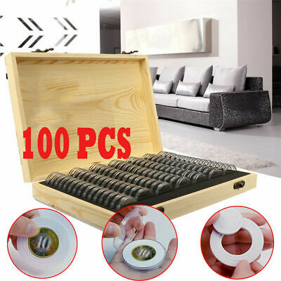 Wooden Coins Display Storage Box Case for Collectible Coin With 100 Capsules UK