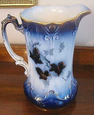 ANTIQUE Flow Blue Pitcher Water Jug Ivy Vine Pattern Gold Accents Lovely