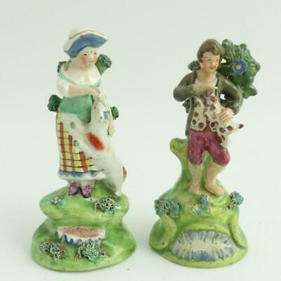 EARLY 19th CENTURY PAIR STAFFORDSHIRE POTTERY WALTON FIGURES