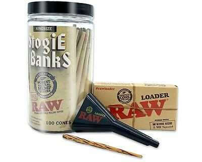 RAW Pre-Rolled Cones Classic King Size Blunts Authentic 100 Pack W/ Loader
