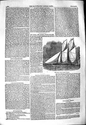 Original Old Antique Print 1851 Spirit New Welled Fishing Schooner Boat 19th