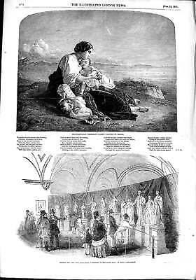Original Old Antique Print 1851 Neapolitan Fisherman Family Bury Peel Monument