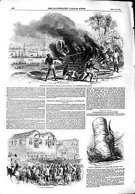 Original Old Antique Print 1851 Burning Body Dewan Moolraj Ganges San Francisco