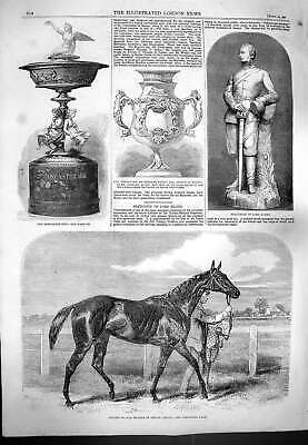 Old Antique Print 1861 Caller Ou Horse St. Leger Statuette Lord Elcho Cup 19th