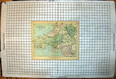 Antique Old Print Counties S Wales Map Cardigan Pembroke Carmarthen Radnor